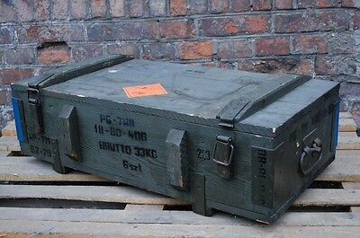 Military Large Vintage Wooden Storage Box Case Chest