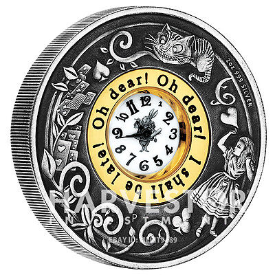 2015 Alice In Wonderland Clock Coin - 2 Oz. Silver Coin - Real Clock - Ogp Coa
