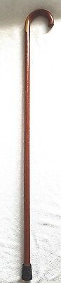 vintage brown wood walking cane with rubber tip and foam/rubber hand grip