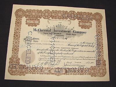1936 Mcchrystal Investment Company Utah Stock Certificate Vintage Free Shipping