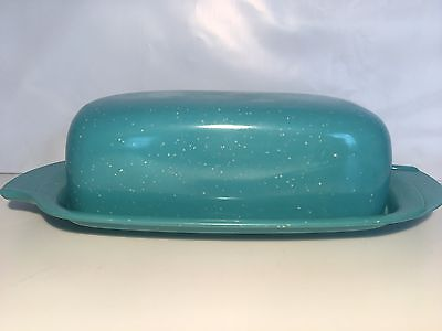 Vintage Speckled Turquoise Melamine Butter Dish Boonton Melmac USA Lid MCM