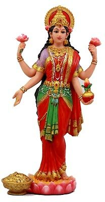 "Collectibles Hindu Goddess Sri Lakshmi Statue 10"" Tall Shakti Of Vishnu"