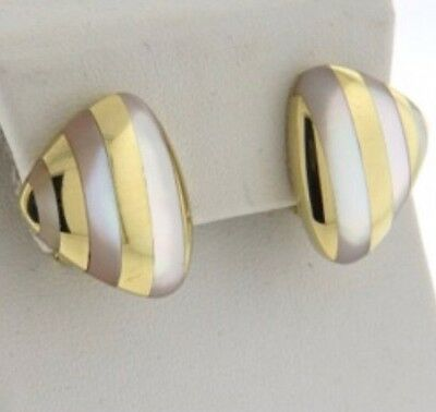 REDUCED!!  Angela Cummings 18k Gold & Mother of Pearl Inlay Earrings