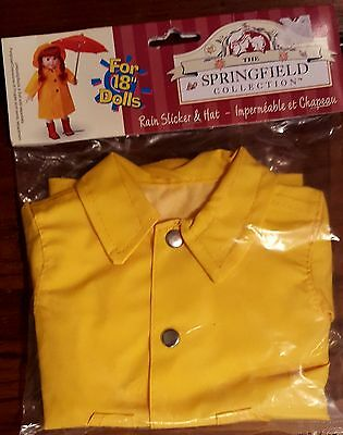 "NIP Springfield Collection Rain Hat & Slicker for 18"" Dolls - American Girl doll"