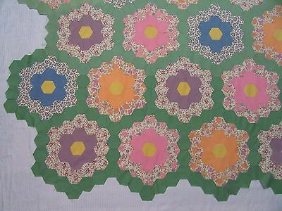 """Antique Hand Stitched Feed Sack Fabric Flower Garden Quilt Top - 87"""" x 81"""""""