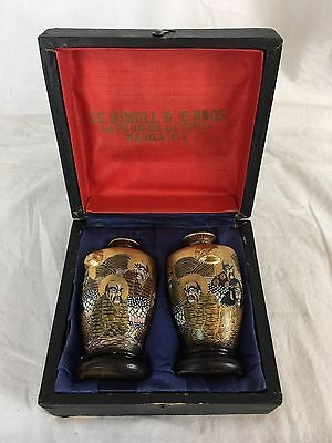 Cased Pair of Japanese Miniature Satsuma Vases, Early 20th Century, Signed
