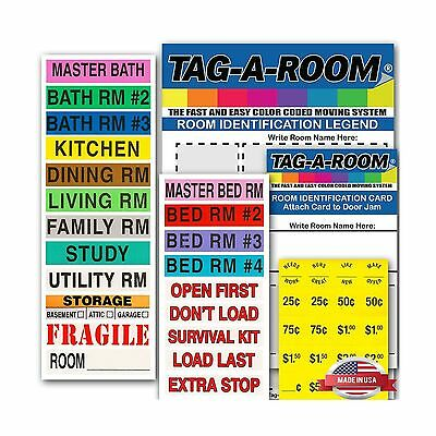 Tag-A-Room Color Coded Home Moving Box Labels with Door IDs 1000 Count Moving...