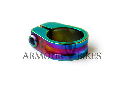 Armour Bikes Seat Post Clamp for Bicycles 28.6mm Oil Slick Jet Fuel Rainbow