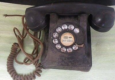 Vintage Bell System Western Electric Black Rotary Desk Telephone