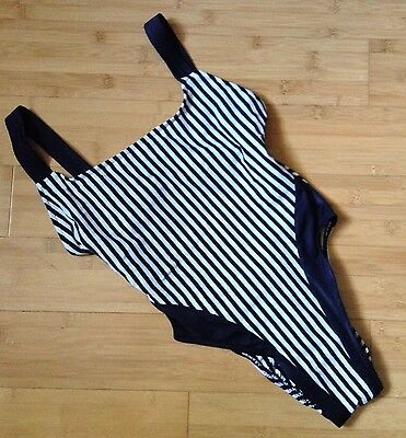 Vtg 80s Swimsuit Electric Beach by Jantzen High Cut Black White Vtg Sz S