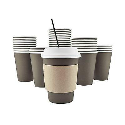 100 Pack - 12 Oz Disposable Hot Paper Coffee Cups Lids Sleeves Stirring Straw...
