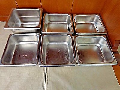 "Lot Of 6 Stainless Steel Super Pan Steam Table Pans 1 - 4"" Deep/ 5 - 2"" Deep"