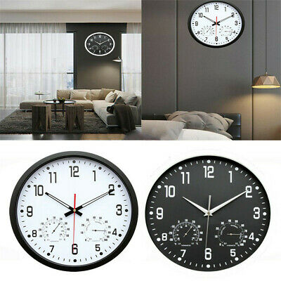Large Decorative Silver Wall Clock - Silent Non-ticking 14-Inch,Black and White