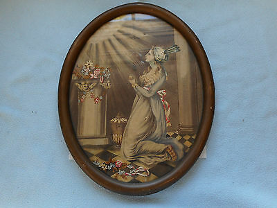 Antique Framed Victorian Fine Art Tapestry  1896  By Fulton