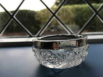 ANTIQUE CUT GLASS  SALT POT with SILVER  RIM  ---  NO RESERVE