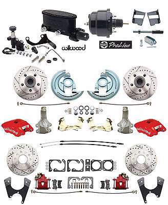 """4 wheel Disc Brake Conversion 2"""" Drop RED Wilwood Package for 1964-72 A Body"""