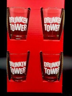 New 4 Count Drunken Tower Fun Themed Shot Glass Set Cold Beverages
