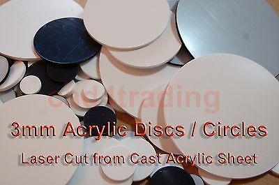 Laser Cut Plastic Circles 3mm Thickness Acrylic Discs White or Black