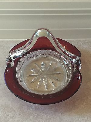 Antique INDIANA Glass Company Iridescent Cranberry Glass Basket from 1909