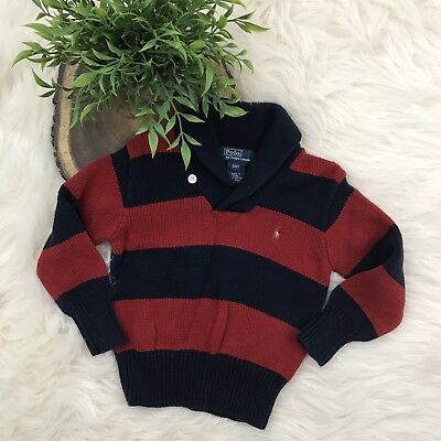 Polo Ralph Lauren Toddler Boys Red/Blue Striped Pullover Sweater Size 3T KC2