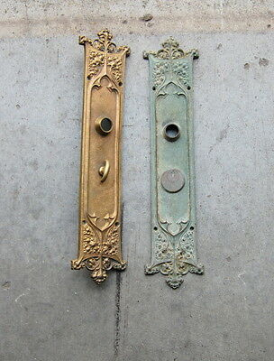 Original Antique 1900s Chicago Hardware Cast Bronze Exterior Door Backplates