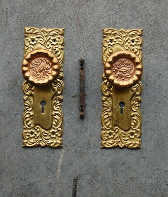 Original Antique Eulalia Pattern Brass Bronze Doorknob & Back Plate Set Hardware