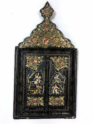 Antique Vintage Persian Wall Mirror Hand Painted Equestrian Horse Images