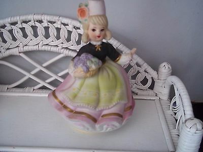 Vintage Japan music box with a lady figurine