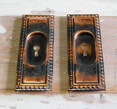 Original Antique Japanned Finish Brass Pocket Door Pulls Backplates, Hardware