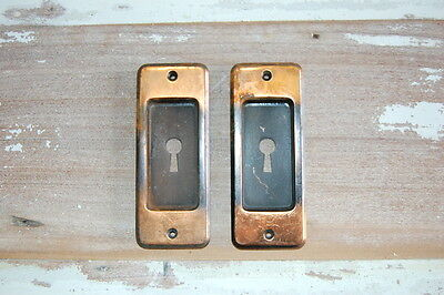 Original Antique Japanned Finish Stamped Metal Pocket Door Pulls Backplates