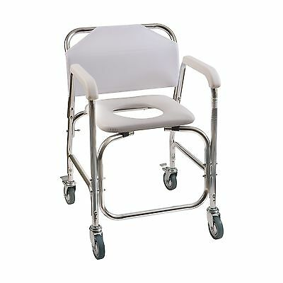 Duro-Med Shower Chair With Wheels Commode Chair and Padded Toilet Seat Shower...