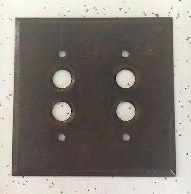 Antique Brass Double Push Button Light Switch Wall Plate Cover