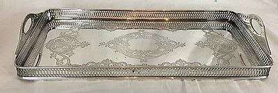 American Rectangular Silverplate Gallery Tray with Handles Circa 1920