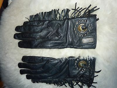 Women's Willie G Black Leather Fringe Gloves