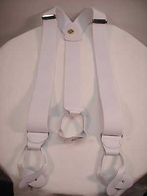 "New, Men's, White, 1.5"", XL, Adj. Dressy Button-On Suspenders / Braces,  USA"