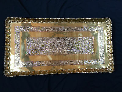 Antique Syrian Or Turkish Huge Brass,copper & Silver Tray 39 1/2In. Long Beauty.