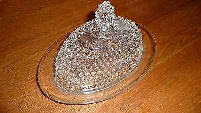 Butter dish -  Indiana Glass clear diamond pattern - oval