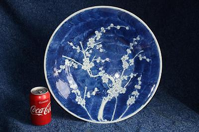 """Rare 18/19th Century Chinese Large Blue & White Prunus Blossom Charger 15"""" VGC"""