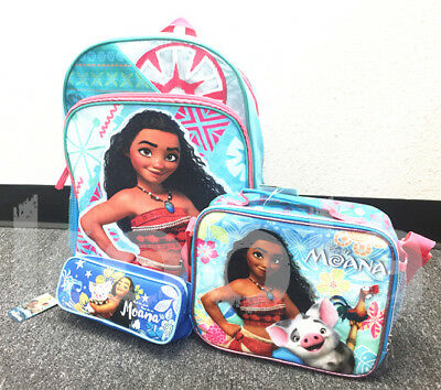 "Disney Moana School Backpack Lunch Bag Set 16"" Grils Book Bag Insulated Box 3pc"