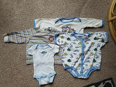 Cute Earthy Baby Boy Clothing Bundle NB-9 Months 4 Pieces 3 One Pieces 1 Shirt