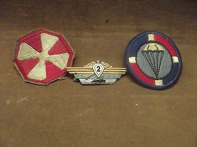 Vintage Military 2 Patches And One Metal Sold As Set Of 3