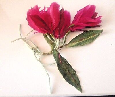 Antique Vintage Millinery Large Magenta Feather Flower Corsage