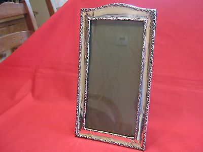 1894 LARGE (26cm x 14cm)SOLID SILVER,OAK & LEATHER FISHTAIL BACKED PHOTO FRAME