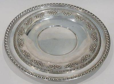 "Lot of 2 Sterling Silver Sandwich Platters 12"" Wallace-10"" Elmore 750gms/22.3Toz"