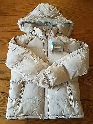 PERSEVERANCE Women's Cream Hooded Coat Size M Zip Up NWT