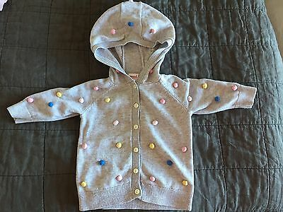 SEED grey cardigan with pink, yellow, blue spots, size 3-6mth