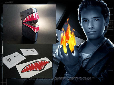 X2 Xmen Pyro Flip Top Lighter Decal Movie Prop Sticker Comic Con Sharks Mouth