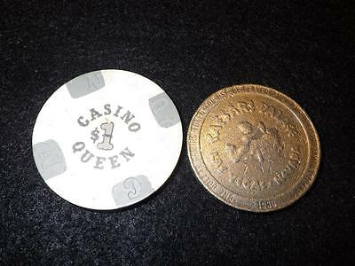 1 Lot of 2 Vintage $1 Casino Chips Caesars Palace Las Vegas & Casino Queen