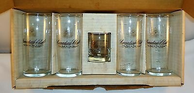 Vintage Boxed Set Of 4 Canadian Club Glasses With 2 oz. Jigger