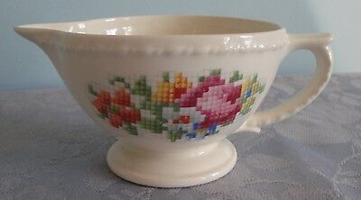 Taylor Smith Taylor Petit Point Floral Creamer Raised Dots on Rim 1212 1-2